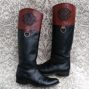 Beautiful Frye Logo Knee High Leather Boots